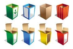 Een reeks van 8 Dozen in verschillende kleuren Stock Afbeeldingen