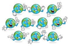 Een reeks van aarde vectormascotte, het vectorpak van het aardekarakter royalty-vrije illustratie
