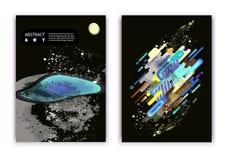 Een reeks van 2 abstracties met een kosmisch thema, een planeet en modieuze ovalen en strepen stock illustratie