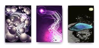 Een reeks van 3 abstracties met een kosmisch thema, een planeet en modieuze ovalen en strepen Futuristisch abstract ontwerp royalty-vrije illustratie