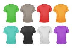 Een reeks van acht kleuren katoenen die t-shirts op wit wordt geïsoleerd Royalty-vrije Stock Fotografie