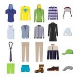 Een reeks van beelden, mensen` s kleding en schoeisel stock illustratie