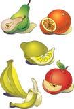 Een reeks van clipartfruit stock foto