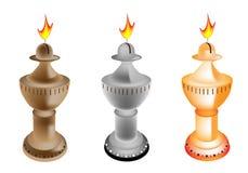 Een reeks van de Illustratie van de Ouderwetse Lamp van de Olie Stock Foto