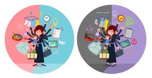Een reeks van de schoolmeisje van Japan die multitasking in bureaus en priv? uitvoeren vector illustratie