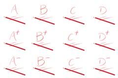 Een reeks van de score van de Schooltest stock illustratie