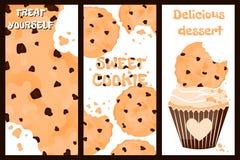 Een reeks van drie affiches van koekjes vector illustratie