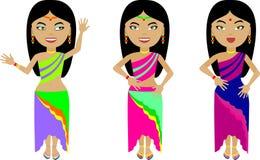 Een reeks van drie Indische meisjes in kleurrijke kleren stock illustratie