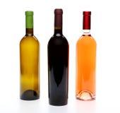 Een reeks van drie soorten wijn Stock Afbeeldingen