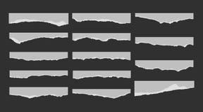 Een reeks van 14 gescheurde stukken van document Detail gevonden randen met villidocument Vector illustratie Stock Afbeelding