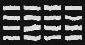 Een reeks van 16 gescheurde stukken van document Detail gevonden randen met villidocument Vector illustratie Stock Fotografie