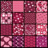 Een Reeks van 16 Hart Vectorpatronen voor Valentijnskaartendag Royalty-vrije Stock Foto's