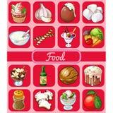 Een reeks van heerlijke desserts en gezond voedsel Schets voor vakantiestickers, kaarten of partijuitnodiging Roomijs met royalty-vrije illustratie