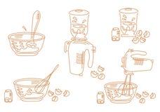 Een reeks van het koken van pictogrammen Stock Foto's
