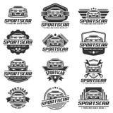Een reeks van het malplaatje of het pictogram van het Sportwagenembleem Royalty-vrije Stock Foto's