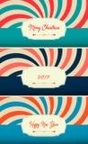 Een reeks van het slanke ontwerp van de prentbriefkaaren 2017 tendens, modieuze kleuren, vectorgrafiek Vrolijke Cristmas Gelukkig Stock Afbeelding
