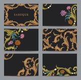 Een reeks van horizontale adreskaartjeswijnoogst in Barokke stijl. Royalty-vrije Stock Fotografie