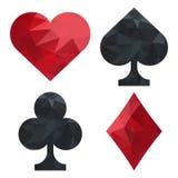 Een reeks van kaart past aan: spades, clubs, harten, diamanten Stock Foto