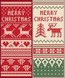 Een reeks van Kerstmis breide patroon met herten Stock Foto