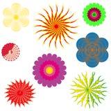 Een reeks van 8 kleurrijke, mooie, kleurrijke, heldere bloemen royalty-vrije illustratie