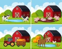 Een reeks van landelijk landbouwbedrijfhuis vector illustratie