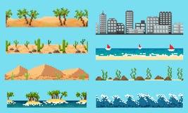 Een reeks van landschap van het pixel het naadloze element royalty-vrije illustratie