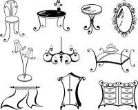 Een reeks van meubilair Stock Foto's