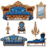 Een reeks van meubilair blauwe kleur voor uitstekend die binnenland op witte achtergrond wordt geïsoleerd De vectorillustratie va stock illustratie