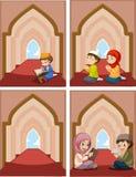Een reeks van moslim bij moskee royalty-vrije illustratie