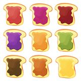 Een reeks van negen sandwiches - de chocolade, banaangelei, pindakaas, bessen zet op gelei Stock Foto