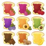 Een reeks van negen zoete sandwicheschocolade, banaan, gelei, pindakaas, bessen Royalty-vrije Stock Foto