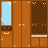 Een reeks van oranje modulair meubilair voor de gang in pixelstijl Stock Afbeelding