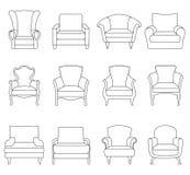 Een reeks van overzichtsstoel Vector illustratie Stock Afbeeldingen