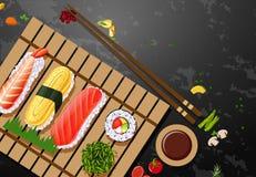 Een reeks van sushimaaltijd stock illustratie