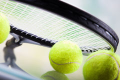 Een reeks van tennis Racket en racket Ball Stock Fotografie