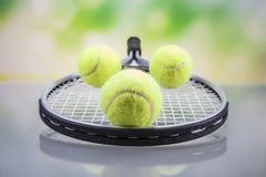 Een reeks van tennis Racket en racket Ball Royalty-vrije Stock Afbeeldingen