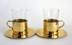 Een reeks van twee glazen stock foto