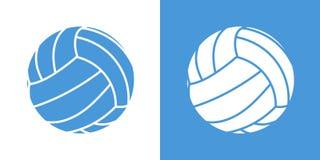 Een reeks van twee varianten van de eenvoudige pictogrammen van de volleyballbal Op wit en op een blauwe achtergrond Royalty-vrije Illustratie
