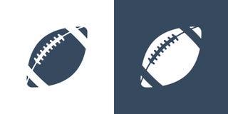 Een reeks van twee variaties van eenvoudige balpictogrammen voor Amerikaanse voetbal Op een witte en donkerblauwe achtergrond rug Vector Illustratie
