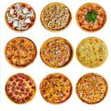 Een reeks van verschillende pizza negen voor het menu, met kaas, met ham, met salami, met paddestoelen, met holopina met tomaten  stock foto