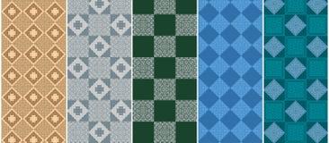 Een reeks van vijf naadloze patronen met samenvatting schilderde vierkanten Stock Afbeeldingen