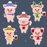 Een reeks van vijf stickers van varkens in verschillende hoeden en een sjaal met koppen verschillende hete dranken in een witte s stock illustratie