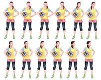 Een Reeks van Vrouwelijke Volleyballspeler in Gele sportenkledij royalty-vrije illustratie