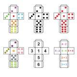 Een reeks van zes varianten van dobbelt Stock Foto's