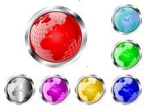 Een reeks van zeven vector het Webknopen van de aardebol Royalty-vrije Stock Afbeeldingen