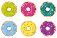Een reeks van zoet deeg donuts Doughnut, op witte achtergrond wordt geïsoleerd die Vector royalty-vrije illustratie