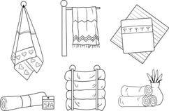 Een reeks vector lineaire handdoeken royalty-vrije illustratie