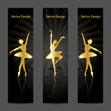 Een reeks vectorbanners met gouden ballerina's Royalty-vrije Stock Fotografie