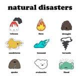 Een reeks vectorvoorwerpen dor klimaat in Thailand Vloed, tornado, sterke wind, zandstorm, tsunamivulkaanuitbarsting royalty-vrije illustratie