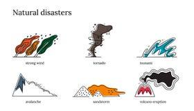 Een reeks vectorvoorwerpen dor klimaat in Thailand Vloed, tornado, sterke wind, zandstorm, tsunamivulkaanuitbarsting vector illustratie